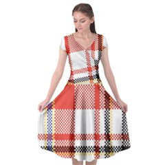 Plaid Mosaic Pixel Seamless Pattern Cap Sleeve Wrap Front Dress