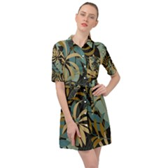 Fashionable Seamless Tropical Pattern With Bright Red Blue Plants Leaves Belted Shirt Dress by Wegoenart
