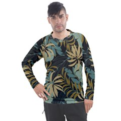 Fashionable Seamless Tropical Pattern With Bright Red Blue Plants Leaves Men s Pique Long Sleeve Tee