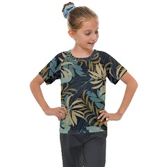 Fashionable Seamless Tropical Pattern With Bright Red Blue Plants Leaves Kids  Mesh Piece Tee