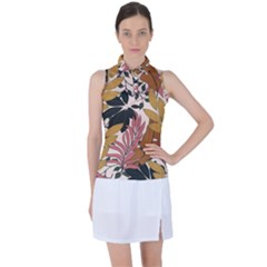 Fashionable Seamless Tropical Pattern With Bright Pink Green Flowers Women s Sleeveless Polo Tee