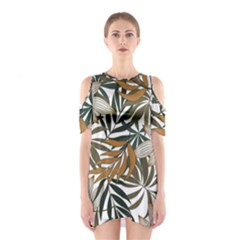 Trendy Seamless Tropical Pattern With Bright White Yellow Flowers Shoulder Cutout One Piece Dress
