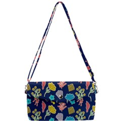 Pattern With Paper Flowers Removable Strap Clutch Bag