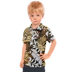Botanical Seamless Tropical Pattern With Bright Red Yellow Plants Leaves Kids  Polo Tee