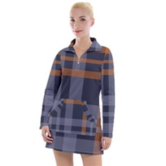 Seamless Pattern Check Fabric Texture Women s Long Sleeve Casual Dress