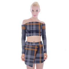 Seamless Pattern Check Fabric Texture Off Shoulder Top With Mini Skirt Set