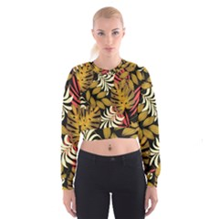 Original Seamless Tropical Pattern With Bright Reds Yellows Cropped Sweatshirt by Wegoenart