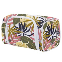 Fashionable Seamless Tropical Pattern With Bright Pink Green Flowers Toiletries Pouch