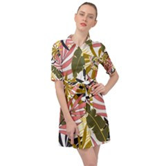 Fashionable Seamless Tropical Pattern With Bright Pink Green Flowers Belted Shirt Dress by Wegoenart