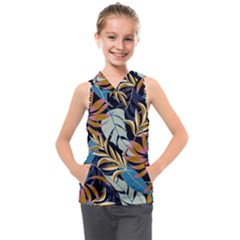 Original Seamless Tropical Pattern With Bright Blue Pink Flowers Kids  Sleeveless Hoodie