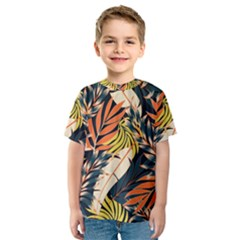 Original Seamless Tropical Pattern With Bright Orange Flowers Kids  Sport Mesh Tee