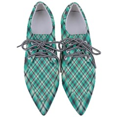 Tartan Scotland Seamless Plaid Pattern Vintage Check Color Square Geometric Texture Women s Pointed Oxford Shoes