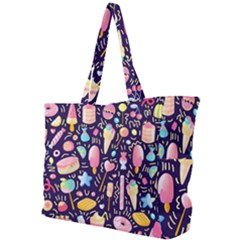 Cute Seamless Pattern With Colorful Sweets Cakes Lollipops Simple Shoulder Bag