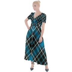 Tartan Scotland Seamless Plaid Pattern Vintage Check Color Square Geometric Texture Button Up Short Sleeve Maxi Dress