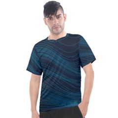 Abstract Glowing Blue Wave Lines Pattern With Particles Elements Dark Background Men s Sport Top