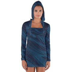 Abstract Glowing Blue Wave Lines Pattern With Particles Elements Dark Background Long Sleeve Hooded T-shirt by Wegoenart