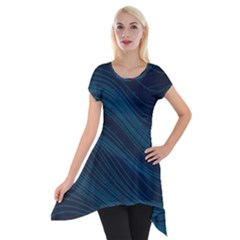 Abstract Glowing Blue Wave Lines Pattern With Particles Elements Dark Background Short Sleeve Side Drop Tunic by Wegoenart