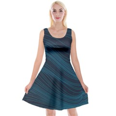 Abstract Glowing Blue Wave Lines Pattern With Particles Elements Dark Background Reversible Velvet Sleeveless Dress by Wegoenart
