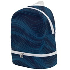 Abstract Glowing Blue Wave Lines Pattern With Particles Elements Dark Background Zip Bottom Backpack