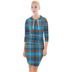 Tartan Scotland Seamless Plaid Pattern Vintage Check Color Square Geometric Texture Quarter Sleeve Hood Bodycon Dress