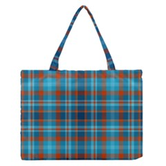 Tartan Scotland Seamless Plaid Pattern Vintage Check Color Square Geometric Texture Zipper Medium Tote Bag