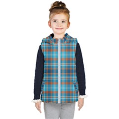 Tartan Scotland Seamless Plaid Pattern Vintage Check Color Square Geometric Texture Kids  Hooded Puffer Vest