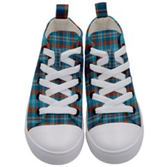 Tartan Scotland Seamless Plaid Pattern Vintage Check Color Square Geometric Texture Kids  Mid Top Canvas Sneakers