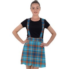 Tartan Scotland Seamless Plaid Pattern Vintage Check Color Square Geometric Texture Velvet Suspender Skater Skirt