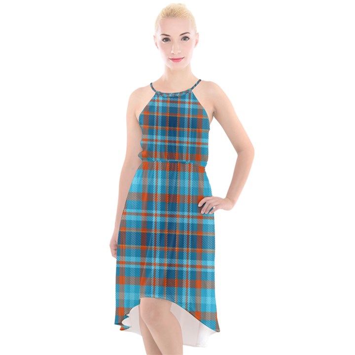 Tartan Scotland Seamless Plaid Pattern Vintage Check Color Square Geometric Texture High-Low Halter Chiffon Dress