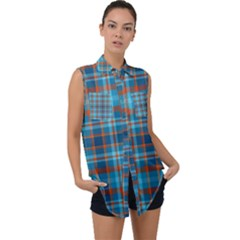 Tartan Scotland Seamless Plaid Pattern Vintage Check Color Square Geometric Texture Sleeveless Chiffon Button Shirt