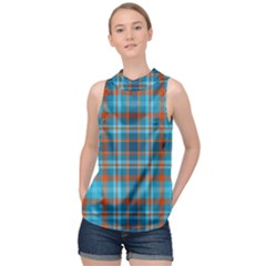 Tartan Scotland Seamless Plaid Pattern Vintage Check Color Square Geometric Texture High Neck Satin Top