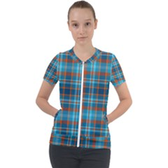 Tartan Scotland Seamless Plaid Pattern Vintage Check Color Square Geometric Texture Short Sleeve Zip Up Jacket