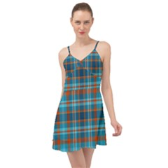 Tartan Scotland Seamless Plaid Pattern Vintage Check Color Square Geometric Texture Summer Time Chiffon Dress