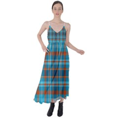 Tartan Scotland Seamless Plaid Pattern Vintage Check Color Square Geometric Texture Tie Back Maxi Dress by Wegoenart