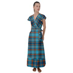 Tartan Scotland Seamless Plaid Pattern Vintage Check Color Square Geometric Texture Flutter Sleeve Maxi Dress