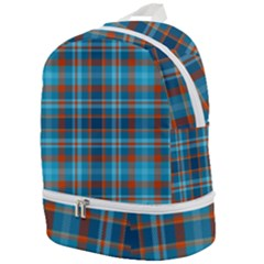 Tartan Scotland Seamless Plaid Pattern Vintage Check Color Square Geometric Texture Zip Bottom Backpack