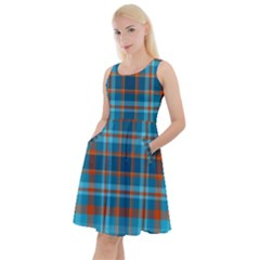 Tartan Scotland Seamless Plaid Pattern Vintage Check Color Square Geometric Texture Knee Length Skater Dress With Pockets