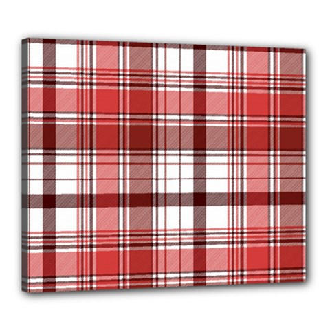 Red Abstract Check Textile Seamless Pattern Canvas 24  X 20  (stretched)