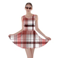 Red Abstract Check Textile Seamless Pattern Skater Dress