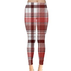 Red Abstract Check Textile Seamless Pattern Leggings