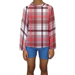 Red Abstract Check Textile Seamless Pattern Kids  Long Sleeve Swimwear