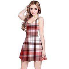 Red Abstract Check Textile Seamless Pattern Reversible Sleeveless Dress