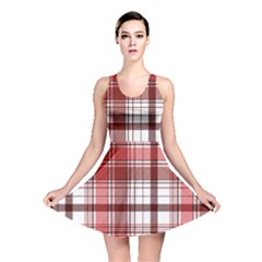 Red Abstract Check Textile Seamless Pattern Reversible Skater Dress