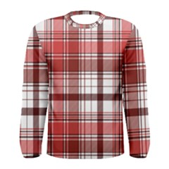 Red Abstract Check Textile Seamless Pattern Men s Long Sleeve Tee