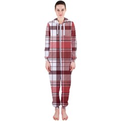 Red Abstract Check Textile Seamless Pattern Hooded Jumpsuit (ladies)