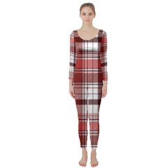 Red Abstract Check Textile Seamless Pattern Long Sleeve Catsuit