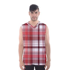 Red Abstract Check Textile Seamless Pattern Men s Basketball Tank Top