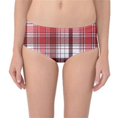 Red Abstract Check Textile Seamless Pattern Mid-waist Bikini Bottoms