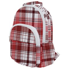 Red Abstract Check Textile Seamless Pattern Rounded Multi Pocket Backpack