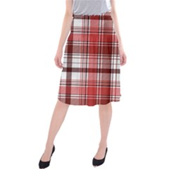 Red Abstract Check Textile Seamless Pattern Midi Beach Skirt